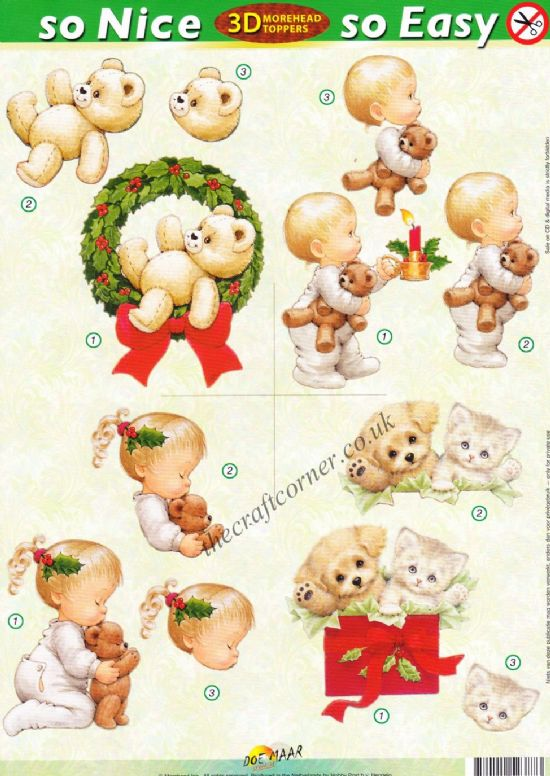 Christmas Children and Teddy Bears So Nice, So Easy Morehead 3D Die Cut Decoupage Sheet